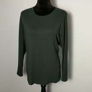 CJ Banks Dark Green Long Sleeve Top Sz 2X